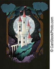 illustration., carte postale, affiche, moon., ciel blanc, conte, couverture, château, livre, conception, nuit, devant, fée, ou