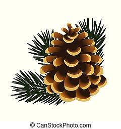 illustration., cartel, ramitas, árbol, aislado, pino, muestra, fondo., solo, vector, invitación, blanco, piña, otro, tarjetas.