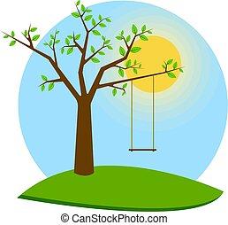 illustration., cartolina, albero, web, vettore, altalena, bandiera