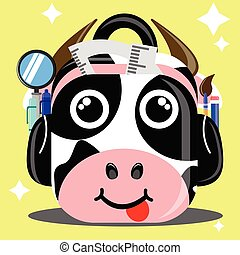 Illustration cartoon character of cow patterned school bag contain pen, pencil, brush etc
