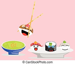 Illustration cartoon character of japanese food, set of sushi waiting to be added to the wasabi sauce