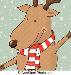 Illustration cartoon cute deer.Vector