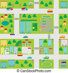 cartoon seamless city map - illustration cartoon seamless...
