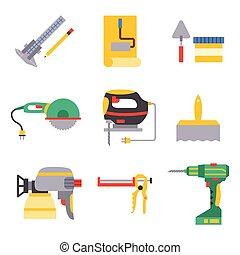 illustration., casa, trabalhador indústria, equipamento, vetorial, handyman, construção, ferramentas, renovação, carpintaria