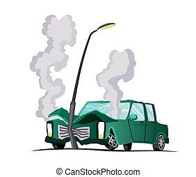 illustration, cassé, auto., accident, vecteur, assurance, dessin animé, fracas, road., rencontré, véhicule, voiture, auto, case., lantern., abîmer