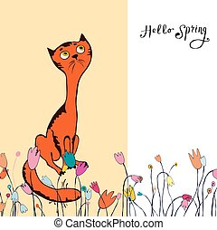 Illustration cat flowers greeting card Hello spring