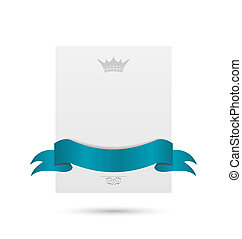 Illustration celebration card with blue ribbon and crown isolated on white background - vector