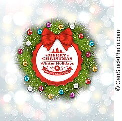 Celebration Card with Christmas Wreath and Balls