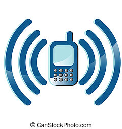 telephone - Illustration, cellular telephone with blue lines...