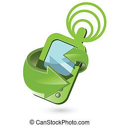 telephone - Illustration, cellular telephone with green...