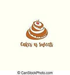 illustration., cereja, criativo, vetorial, bolo, logotipo