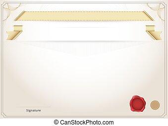 illustration., certificat, diplôme, arrière-plan., vecteur, gabarit, vide