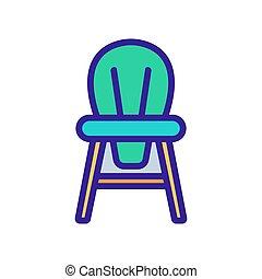 illustration, chaise, contour, dos, rond, enfants, vecteur, icône, bois