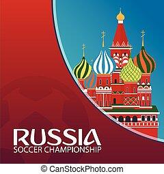 illustration., championship., sport, vecteur, football., russia., football