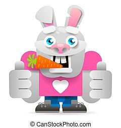 illustration., character., fond, isolé, vecteur, lapin, blanc, dessin animé