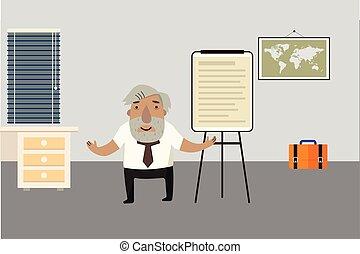 illustration., character.., room., professor-historian, character., trzepnięcie, chart., wektor, ożywiony, rysunek