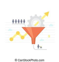 illustration., -, chart., vettore, imbuto, crescita, vendite, conversione, optimization