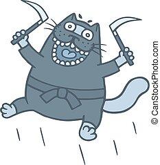 illustration., chat, sickles., vecteur, ninja, épais, armé, dessin animé