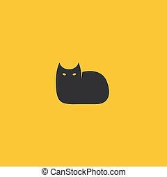illustration., chat, vecteur, noir, logo, template.