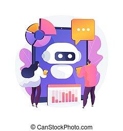 illustration., chatbot, desarrollo, concepto, plataforma, ...
