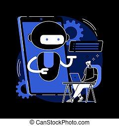 illustration., chatbot, plataforma, resumen, desarrollo, ...