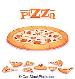 illustration, chaud, vecteur, fond, blanc, pizza