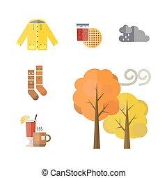 illustration, chaussettes, ensemble, manteau, vin, imperméable, parka, feuilles, chauffé, arbre, bottes, automne, vecteur, gants, collection, gland, automne, articles, chapeau, écharpe, vêtements