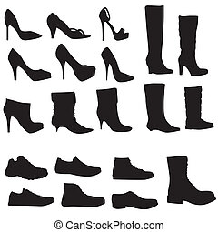 illustration), chaussures, (vector, isolé, collection, silhouettes, fond, blanc
