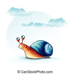 Illustration cheerful snail on a background of sky with clouds