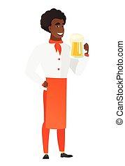 illustration., chef, birra, vettore, cuoco, bere