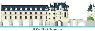 illustration., chenonceau, isolato, france., vettore, fondo, bianco, valle, loire, castello