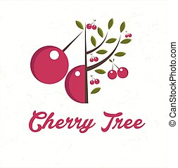 Illustration cherry tree with cherry fruit