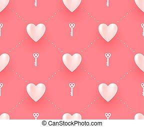 illustration., chiavi, modello, seamless, valentina, day., vettore, fondo, cuori, bianco rosso