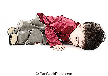 Illustration Child - Illustration of a small boy laying on a...