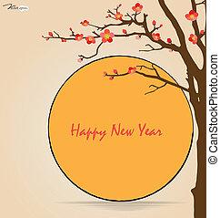 illustration., chinees, kers, blossom., vector, jaar, nieuw, kaart