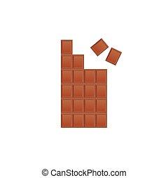 illustration., chocolat, cassé, sweet-stuff, vecteur, lait, bar.