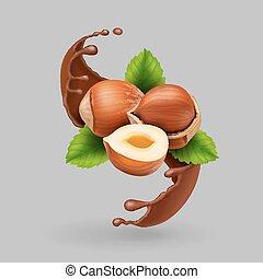 illustration, chocolat, réaliste, vecteur, splash., noisette