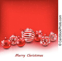 Christmas Abstract Background with Red Balls