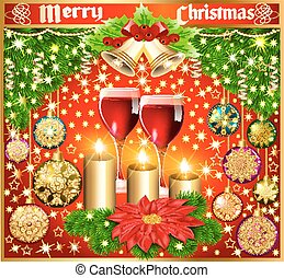 Christmas background with balls and glasses of wine flower bell