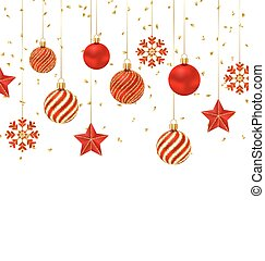 Christmas Background with Ornamental Balls, Stars and Snowflakes