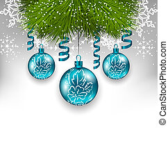 Christmas background with traditional adornment