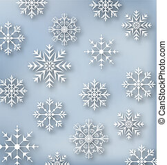 Christmas blue wallpaper with set snowflakes