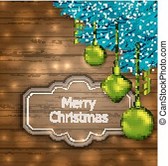 Christmas Card with Balls and Fir Twigs