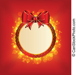 Christmas card with bow, lighting background