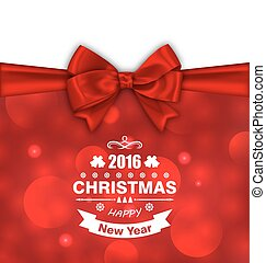 Christmas Card with Bow Ribbon