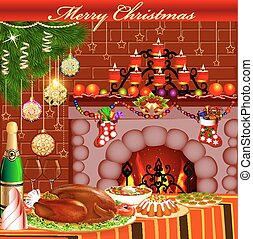 Christmas card with fireplace chicken and pudding