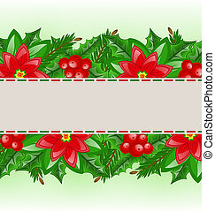 Christmas card with holly berry and poinsettia