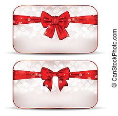 Illustration Christmas cards with gift bows - vector