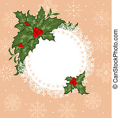 Christmas celebration card with branch
