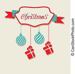 Christmas celebration card with hanging balls and gifts